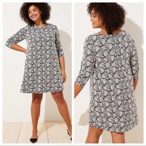 LOFT Floral Jacquard Shift Dress grey white knit